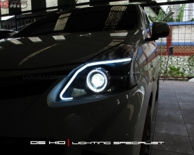 DS Projector Bixenon + DS HID 6000K + Angel Eyes + LED Strip + Black Housing