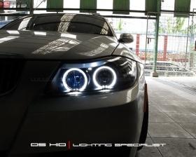 BMW Seri 3 E90 Headlamp Aftermarket Upgrade Angel Eyes