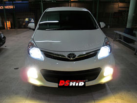 DS Projector Bixenon + New DS HID V1 6000K + Angel Eyes putih ( Headlamp ) New DS HID V1 3000K ( Foglamp )