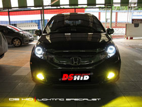 DS Projector Bixenon + DS HID 6000K + Angel Eyes + Black Housing ( Headlamp ) DS HID 3000K ( Foglamp )